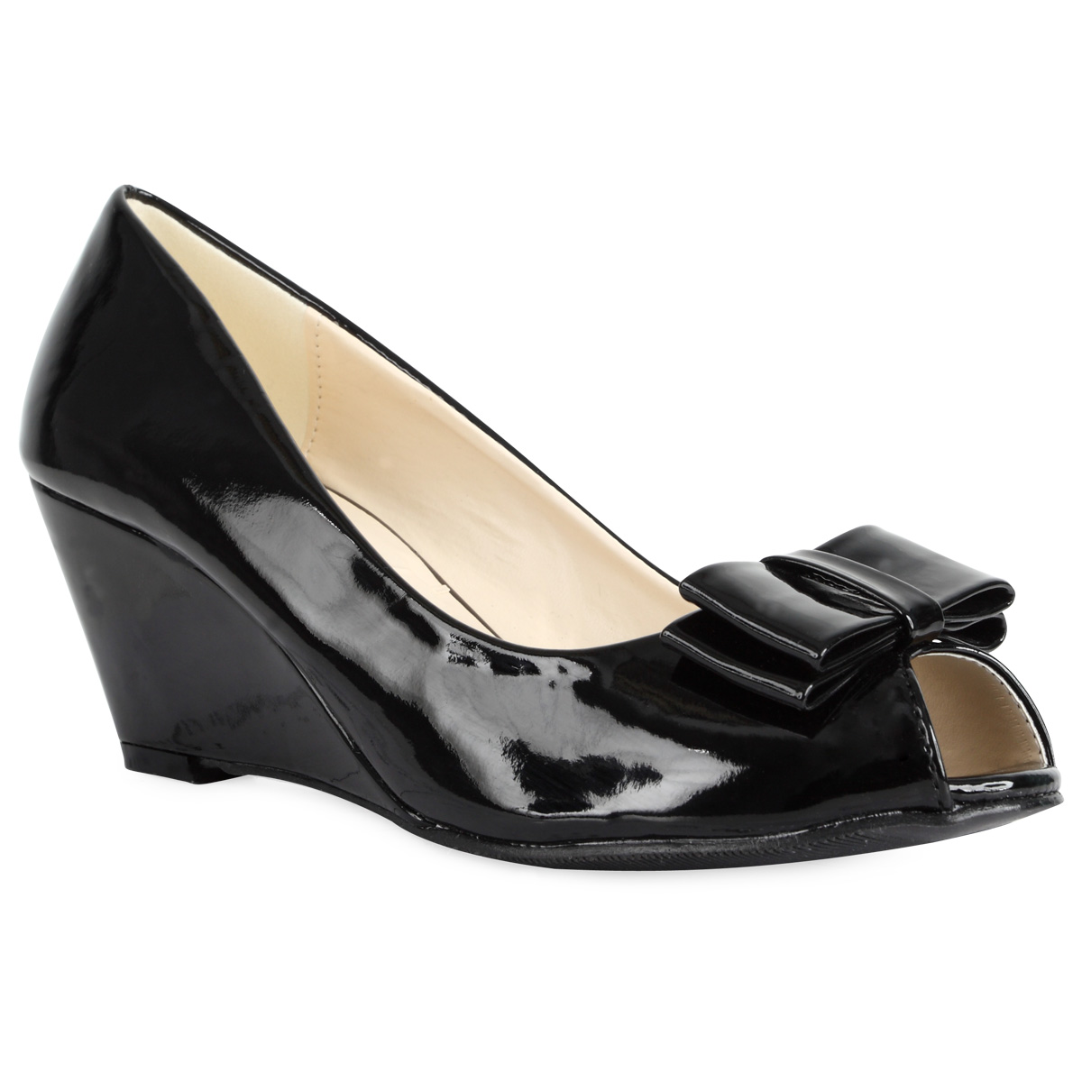 Black Patent Peeptoe Court Shoes