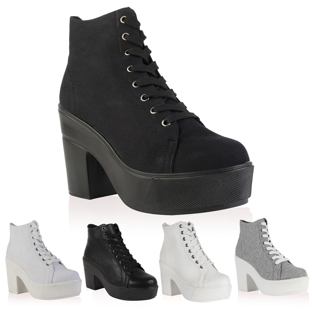 New Ladies Lace Up Canvas Womens Platform Chunky Block Heel Boots ...