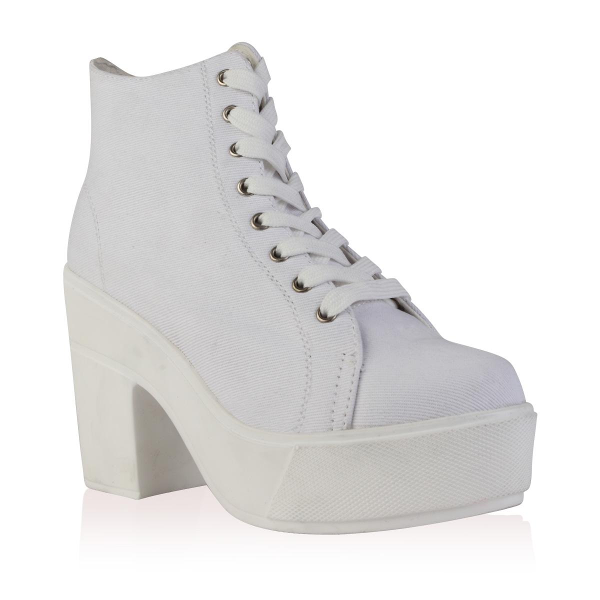 White Chunky Heel Boots - Is Heel