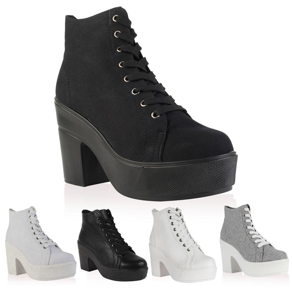 lace up canvas womens platform block high heel