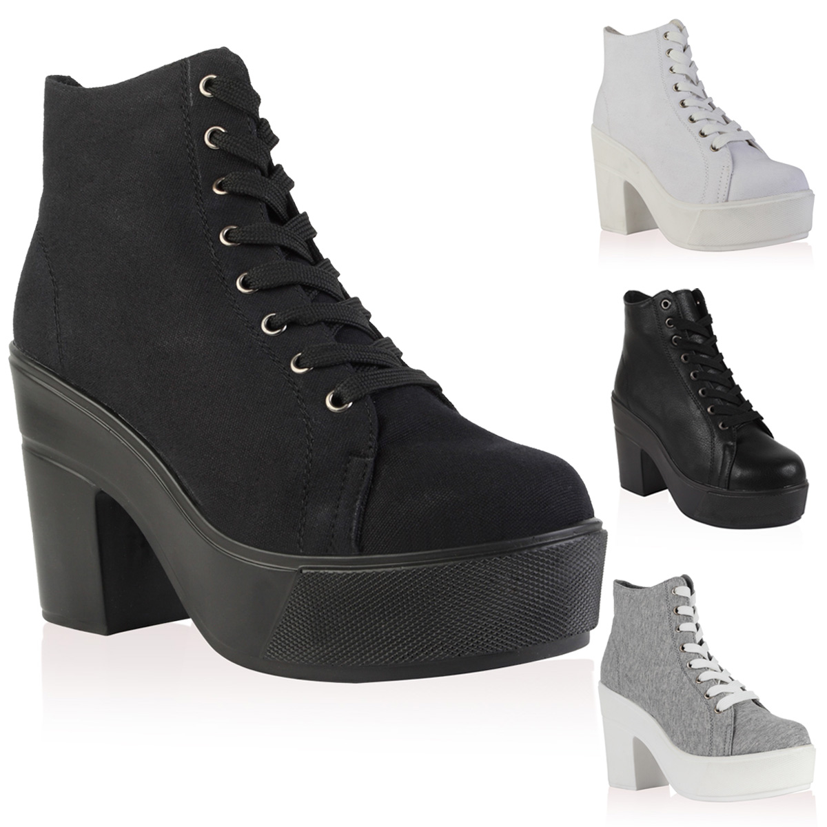 NEW WOMENS LACE UP CANVAS LADIES PLATFORM BLOCK HEEL ANKLE BOOTS ...
