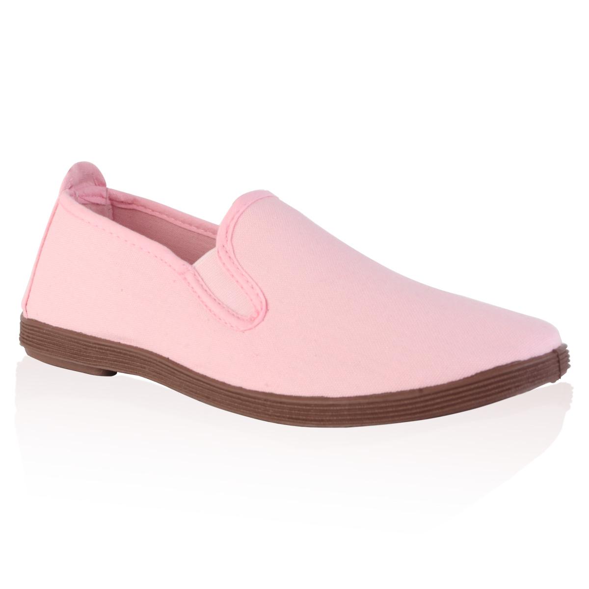 new womens light pink flat plimsoll slip on summer