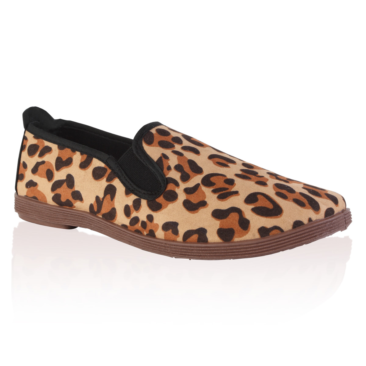 womens leopard print flat plimsoll slip on summer