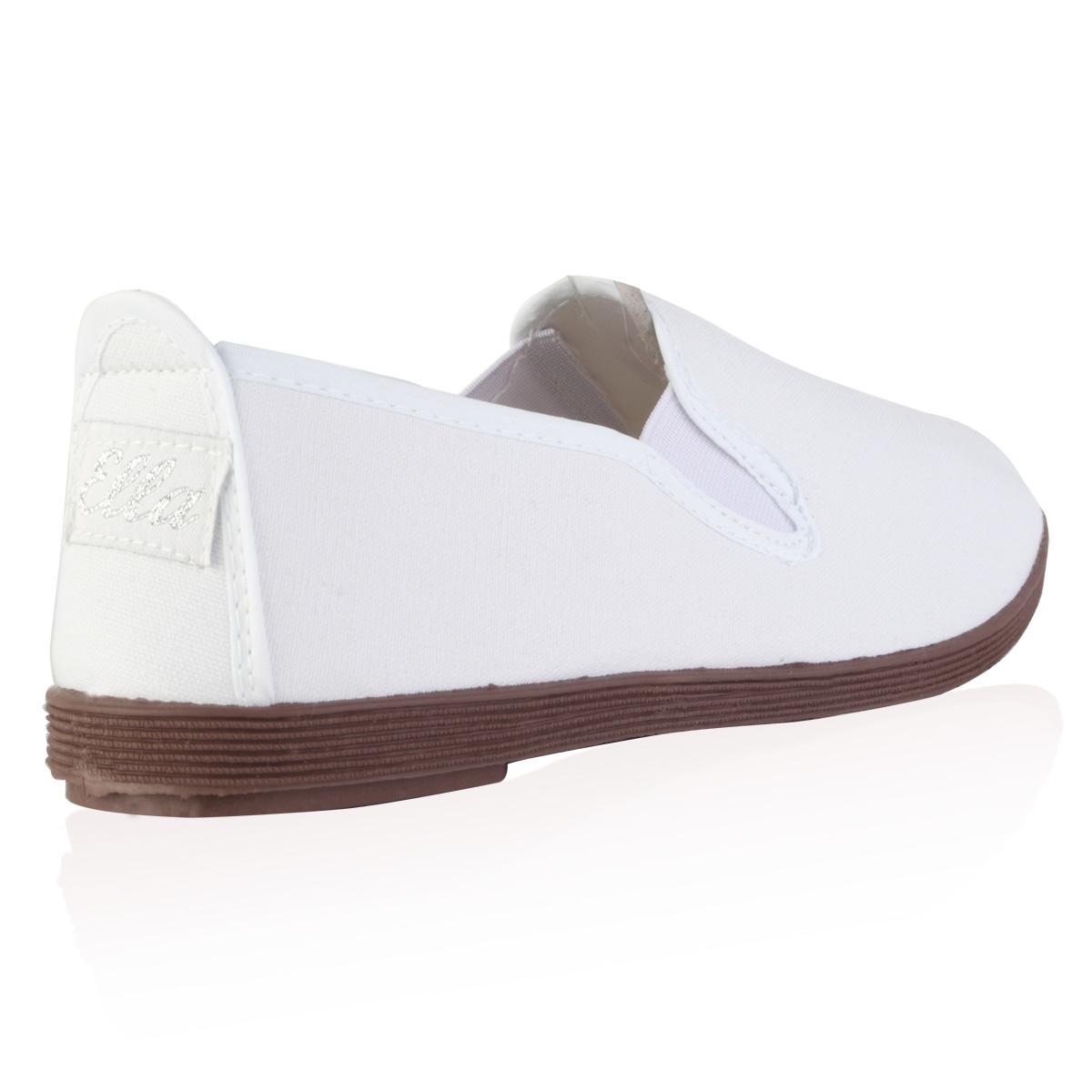 new womens white flat plimsoll slip on summer
