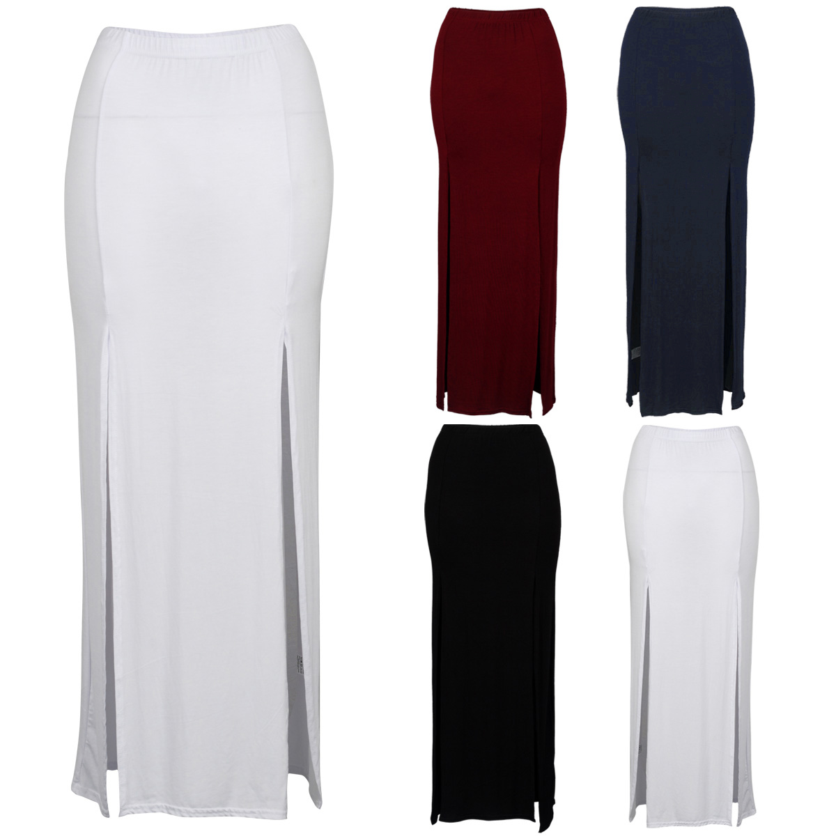 Ladies Double Split Slit Summer Womens Stretch Bodycon Long Maxi ...