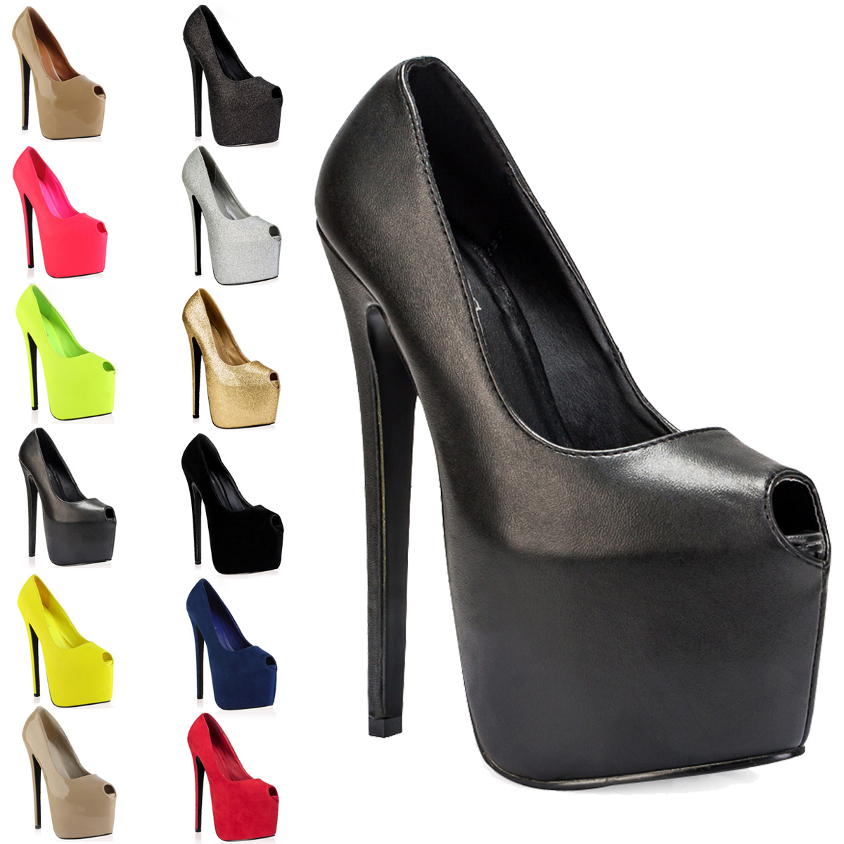 Ladies Peep Toe Womens Platform 7 Inch High Stiletto Heel Court ...
