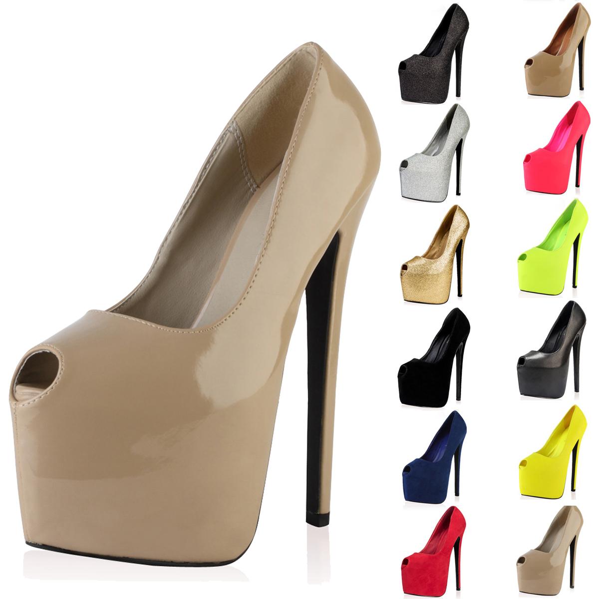 peep toe concealed platform womens 7 inch high