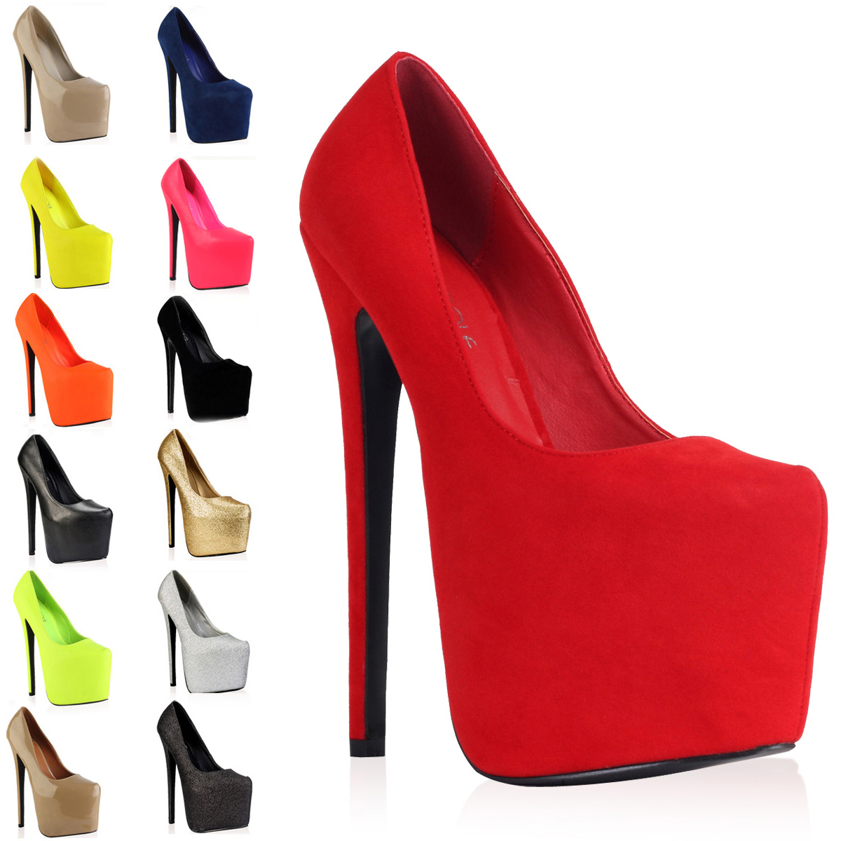 WOMENS POINTY LADIES PLATFORM HIGH HEEL 7 INCH STILETTO COURT ...