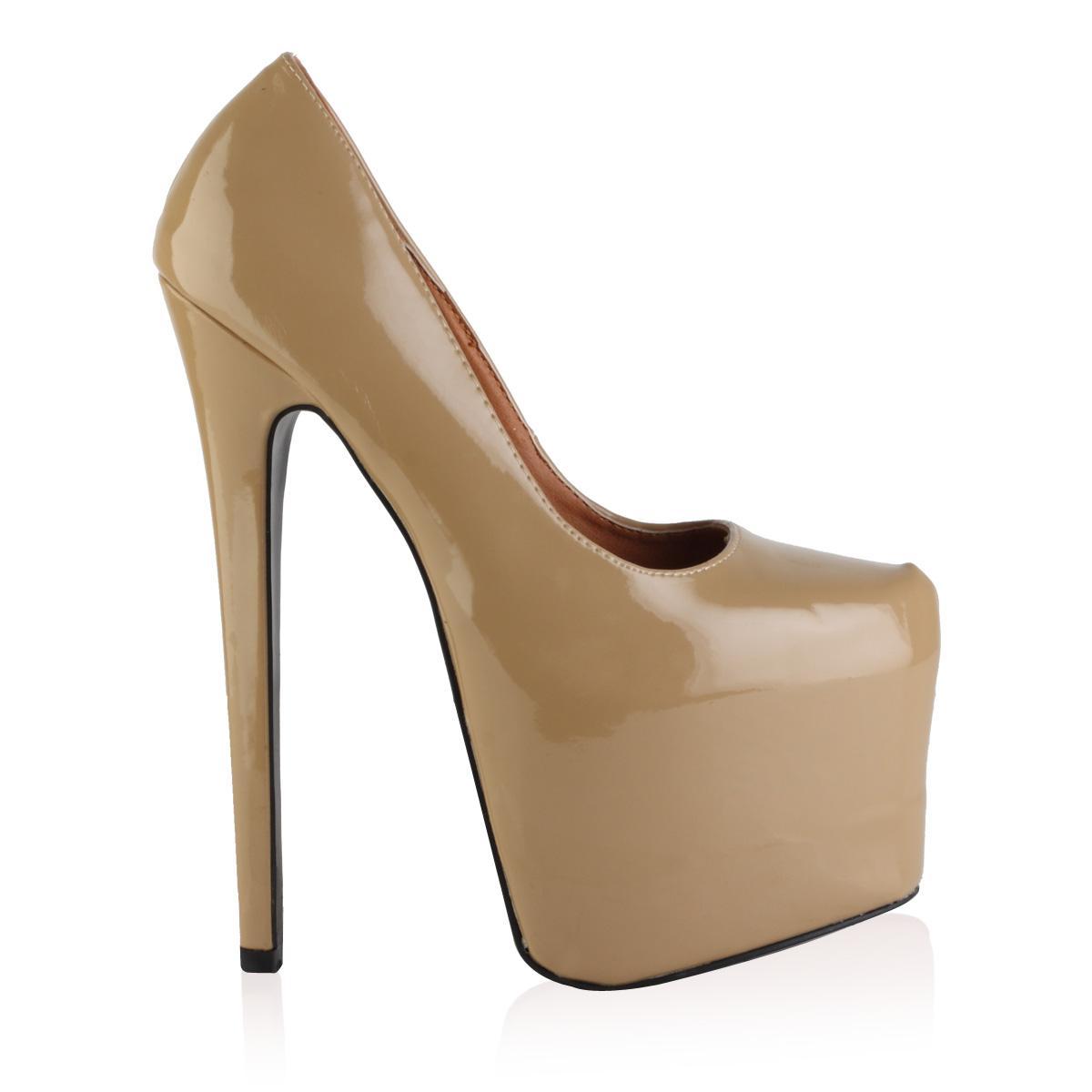new womens beige patent platform stiletto 7 inch