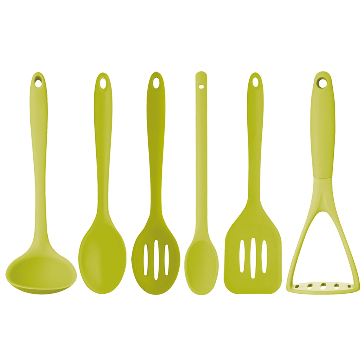 Lime Green 6 Pack Silicone Cooking Utensils Unique Home Living