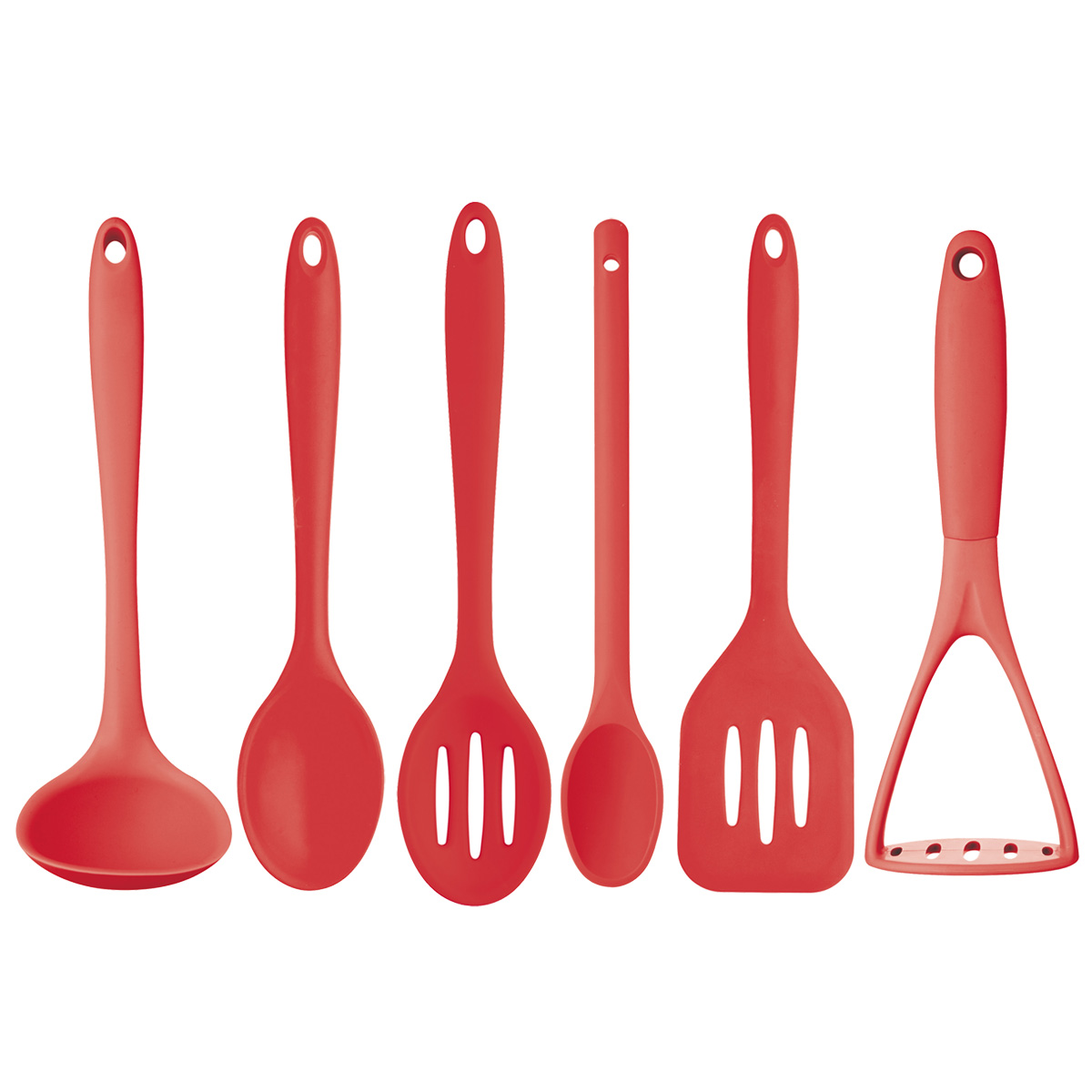 Red 6 Pack Silicone Cooking Utensils Unique Home Living