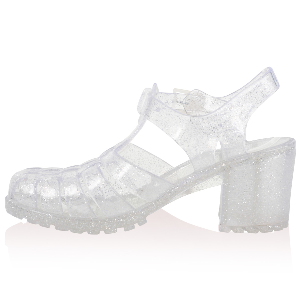 WOMENS CLEAR GLITTER HEEL LADIES SUMMER CUT OUT SANDALS JELLY SHOES
