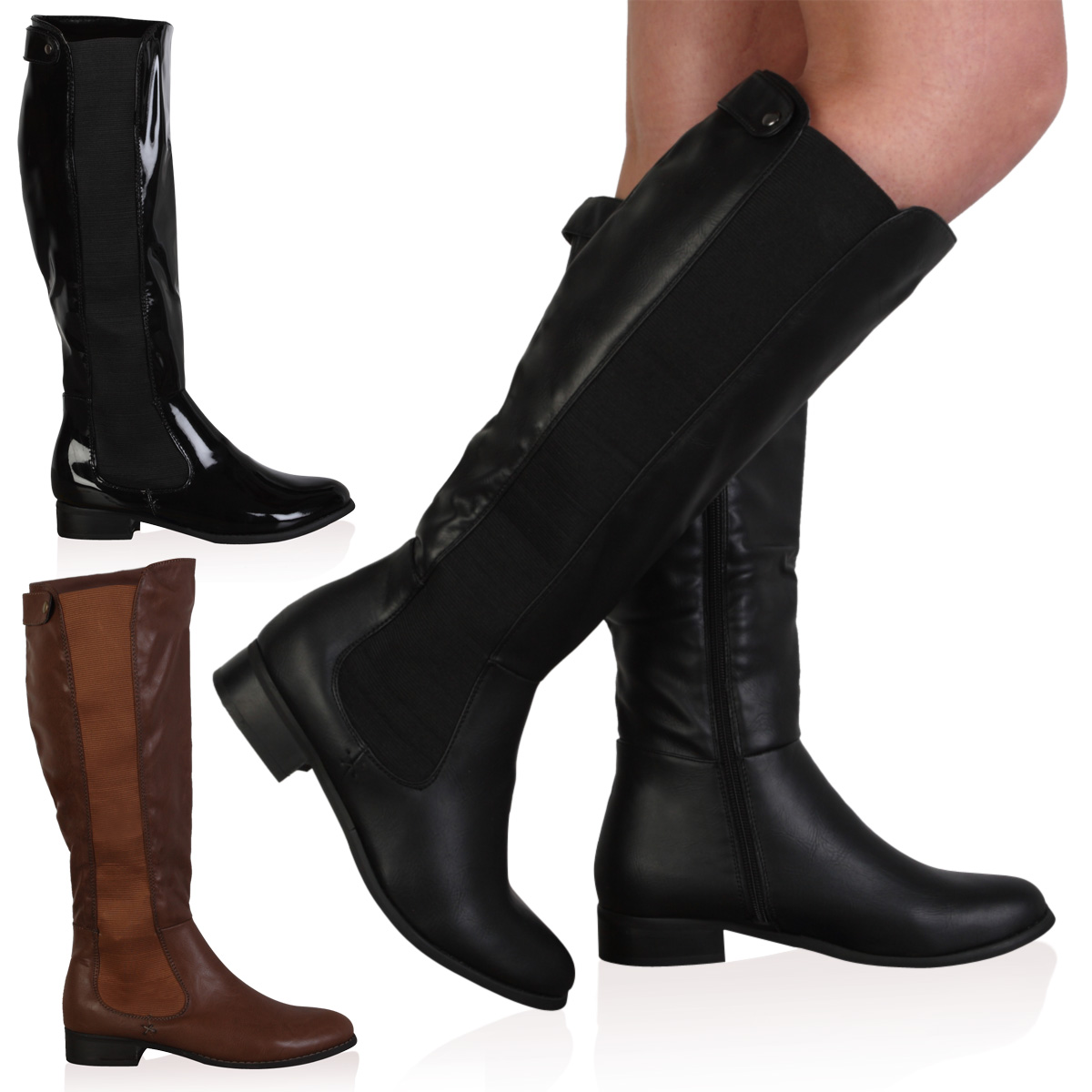 NEW WOMENS FAUX LEATHER LADIES FLAT LONG KNEE HIGH RIDING BOOTS ...