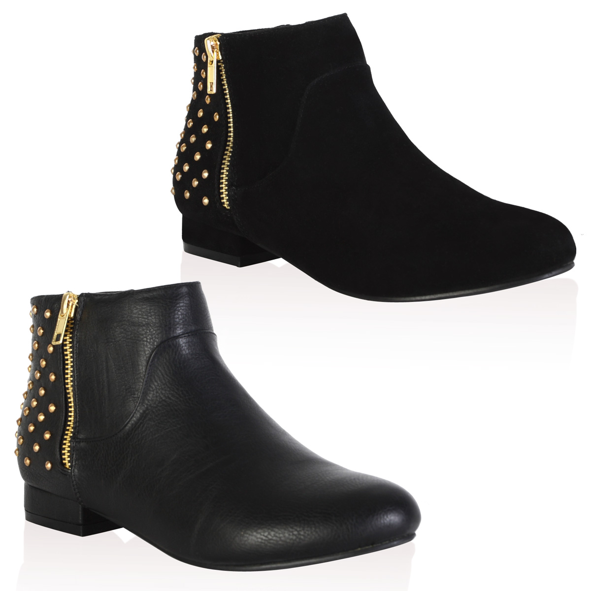 new studded zip up womens flat pixie chelsea ankle