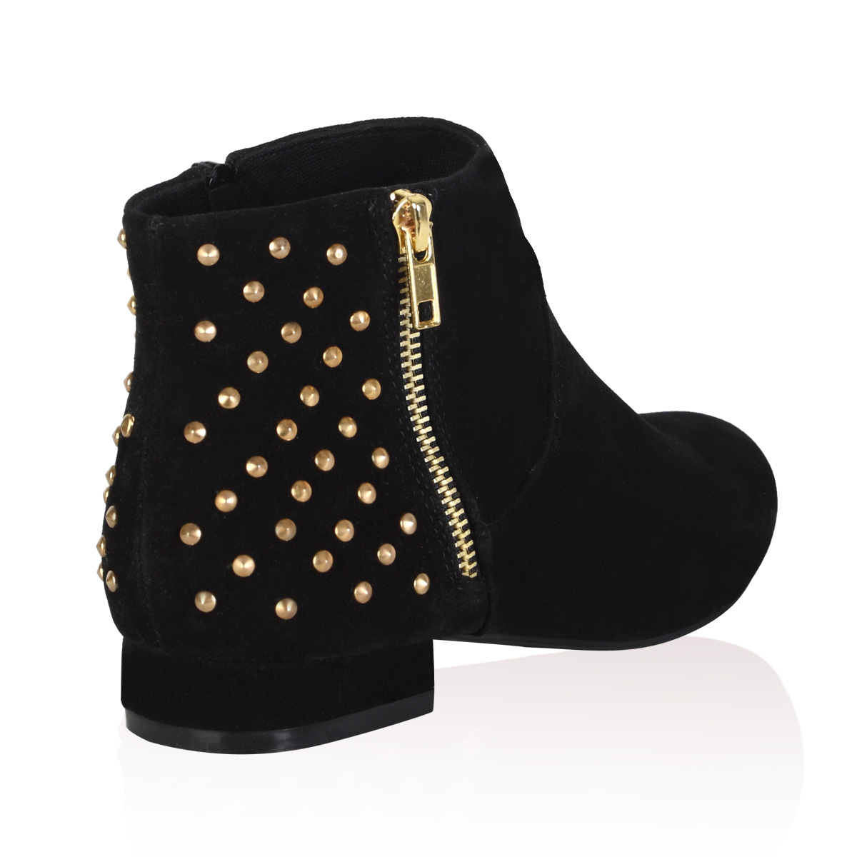 WOMENS BLACK FAUX SUEDE STUDDED ZIP UP LADIES CHELSEA ANKLE BOOTS ...