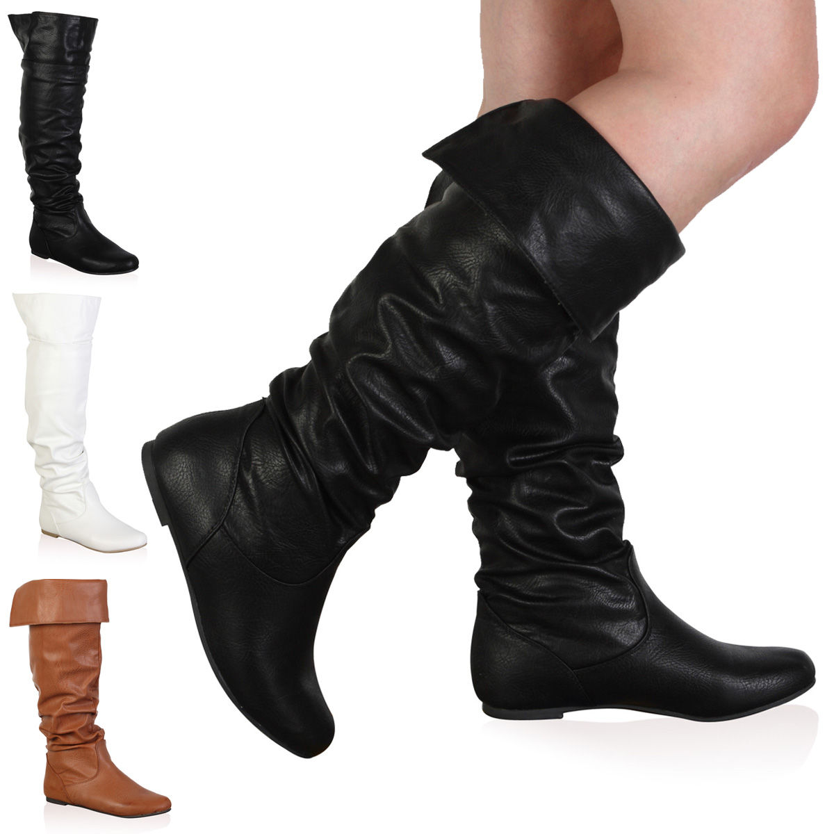 New Ladies Slouch Womens Riding Flat Over Knee High Long Boots ...