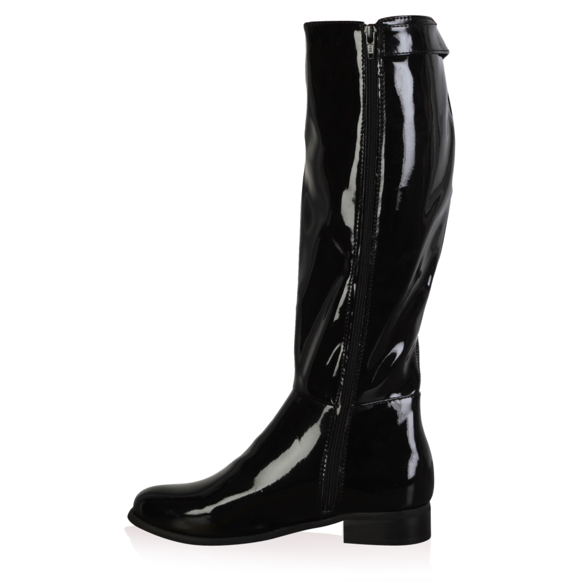 new womens black patent shiny low heel knee high