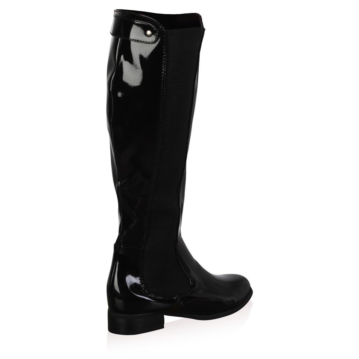 new womens black patent shiny low heel knee high