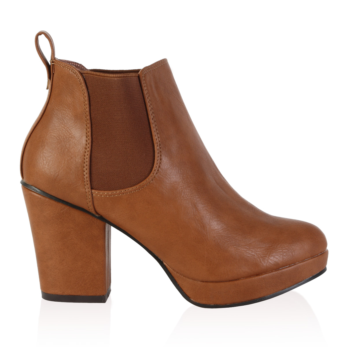 womens brown platform block heel chelsea ankle