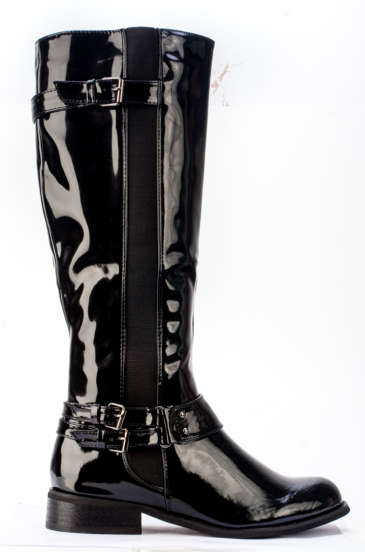 womens new patent shiny black flat knee high