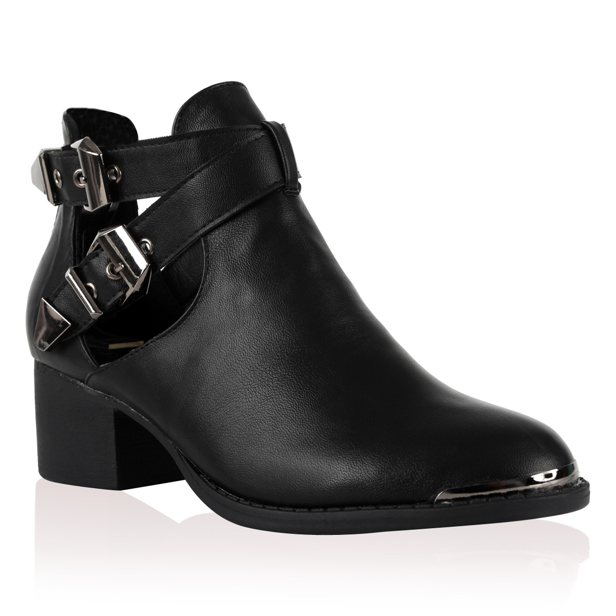 98V WOMENS JET BLACK CUT OUT BUCKLE STRAP LADIES HEEL ANKLE BOOT ...