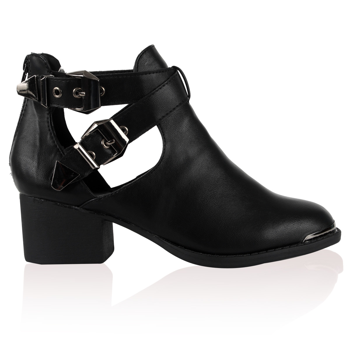 womens black cut out buckle heel ankle