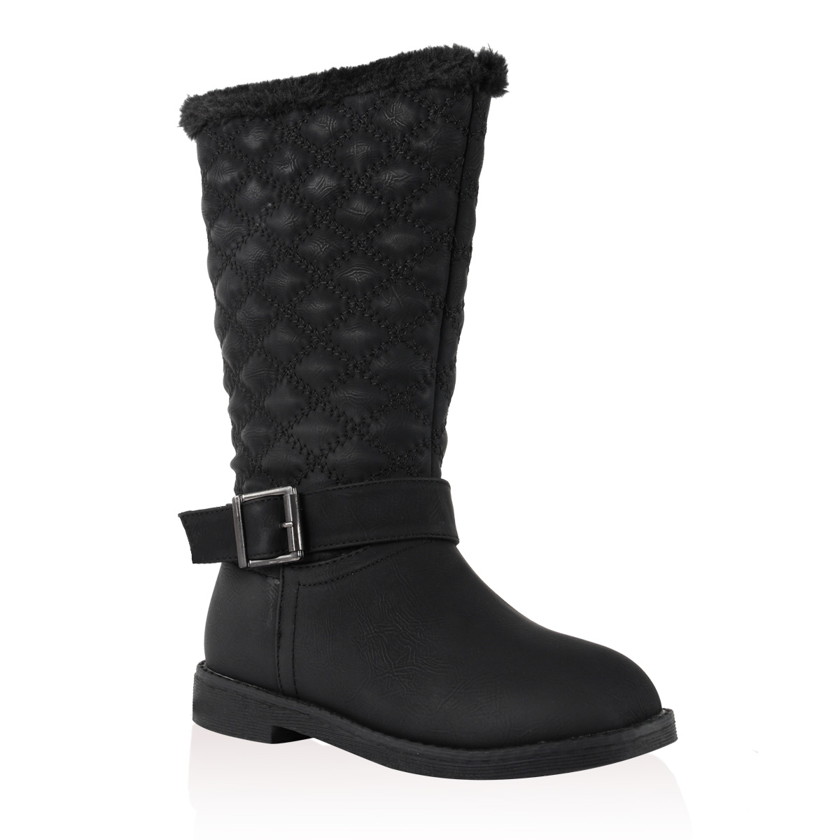 new black faux fur lined buckle quilted mid