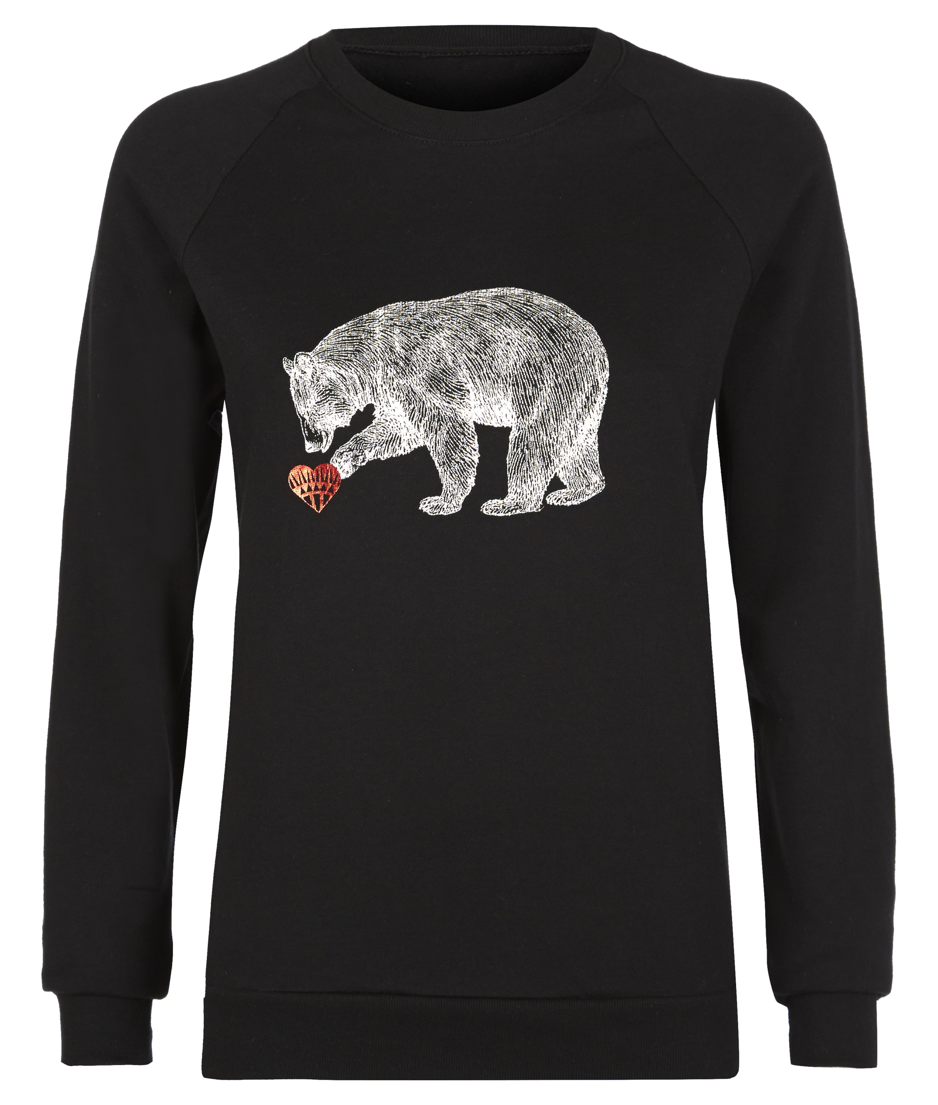 Holly Fulton Black Sweatshirt With Screen Printed Red Foil Heart And White Bear