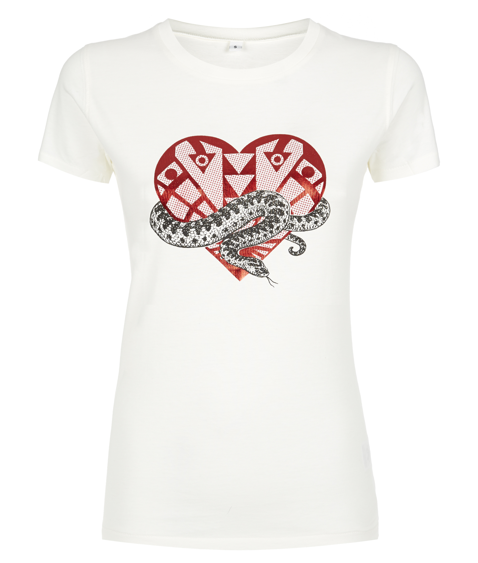 Holly Fulton Cream T-Shirt With Screen Printed Red Foil Heart And Black Snake