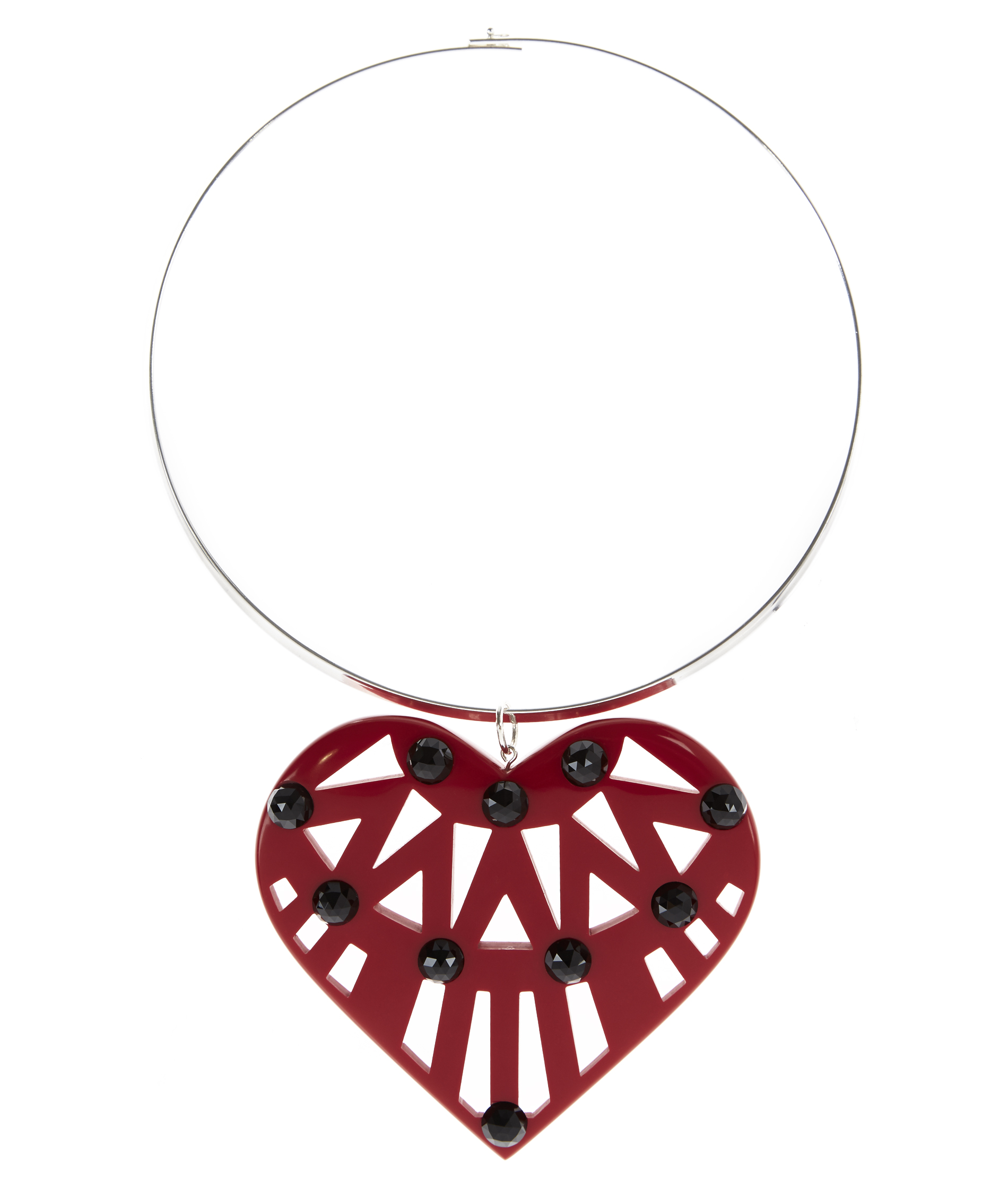 Holly Fulton Hearty Hand-Cast Red Pendant With Swarovski Crystals Necklace