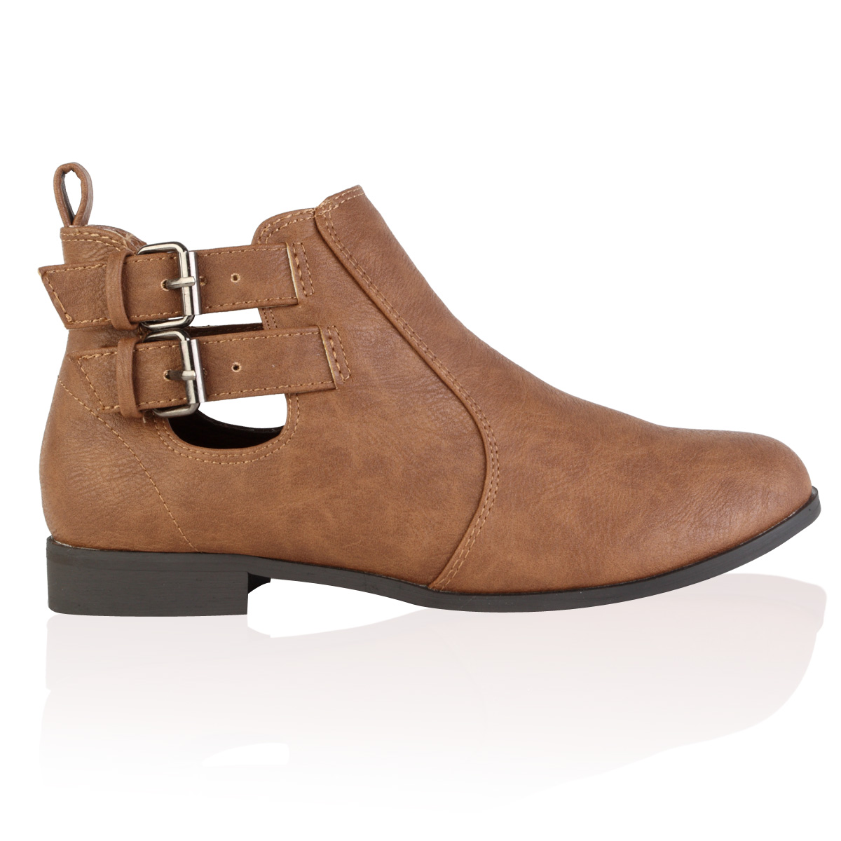 NEW WOMENS TAN BROWN PU CUT OUT BUCKLE LADIES CHELSEA ANKLE BOOTS ...