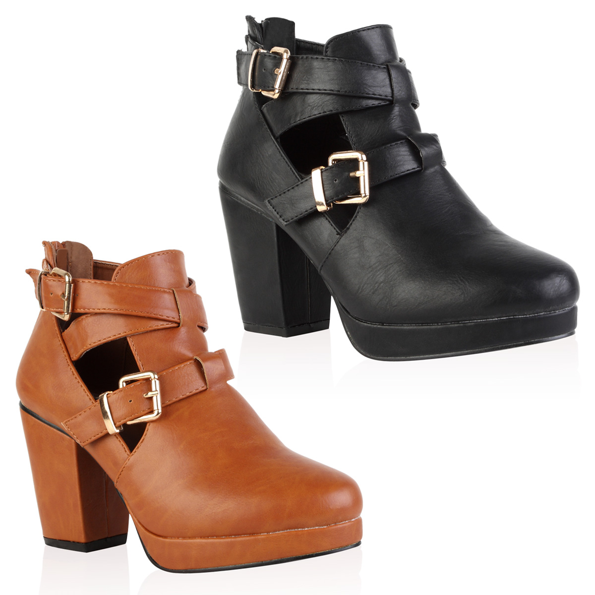 new faux leather cut out womens heel platform ankle