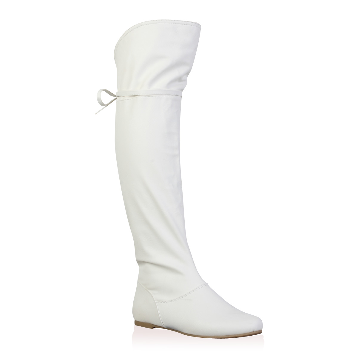 womens white faux leather flat the knee zip up