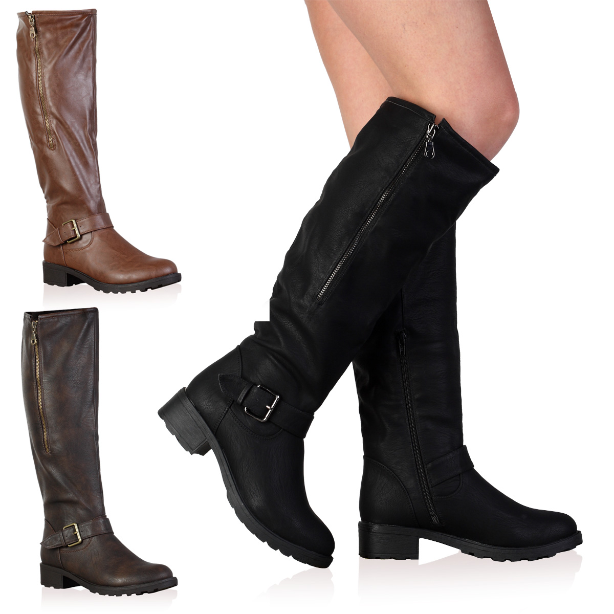 1I WOMENS FAUX LEATHER KNEE HIGH LADIES LONG WINTER FLAT RIDING ...