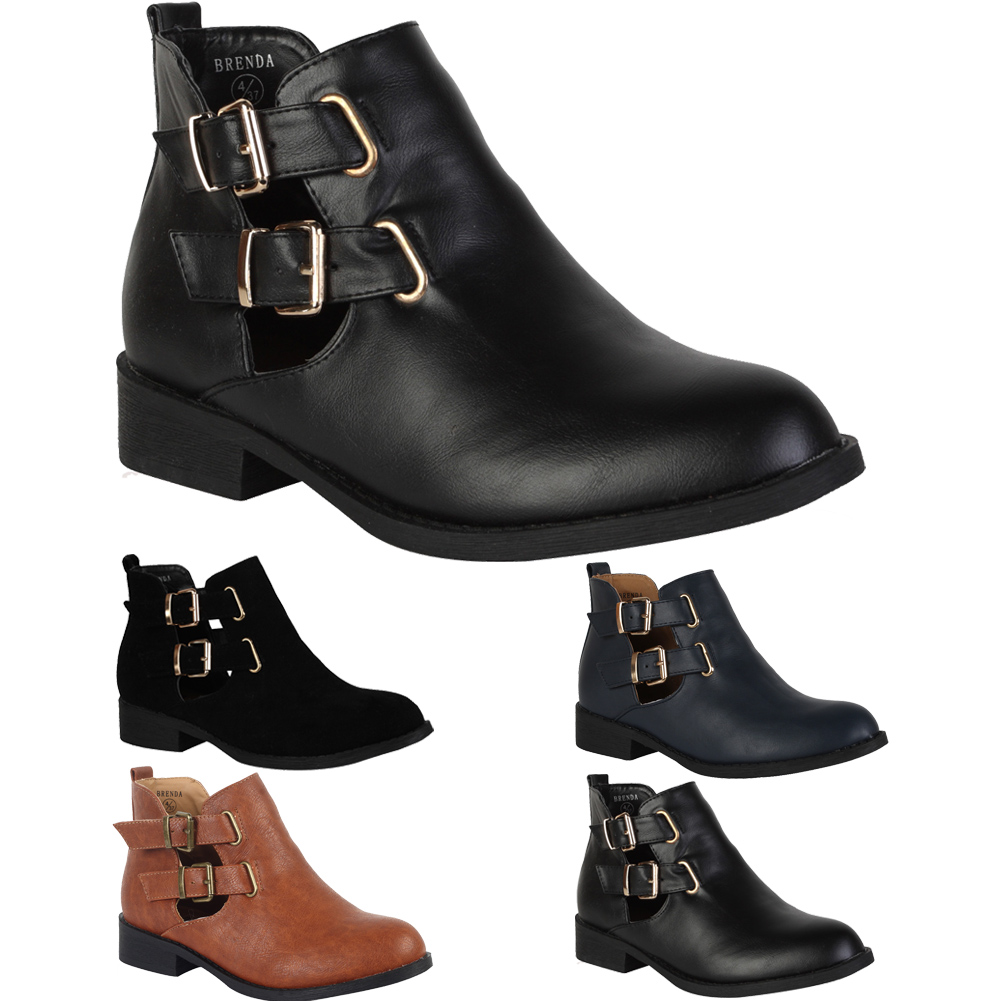 New Ladies Faux Leather Womens Cut Out Buckle Flat Ankle Boots ...