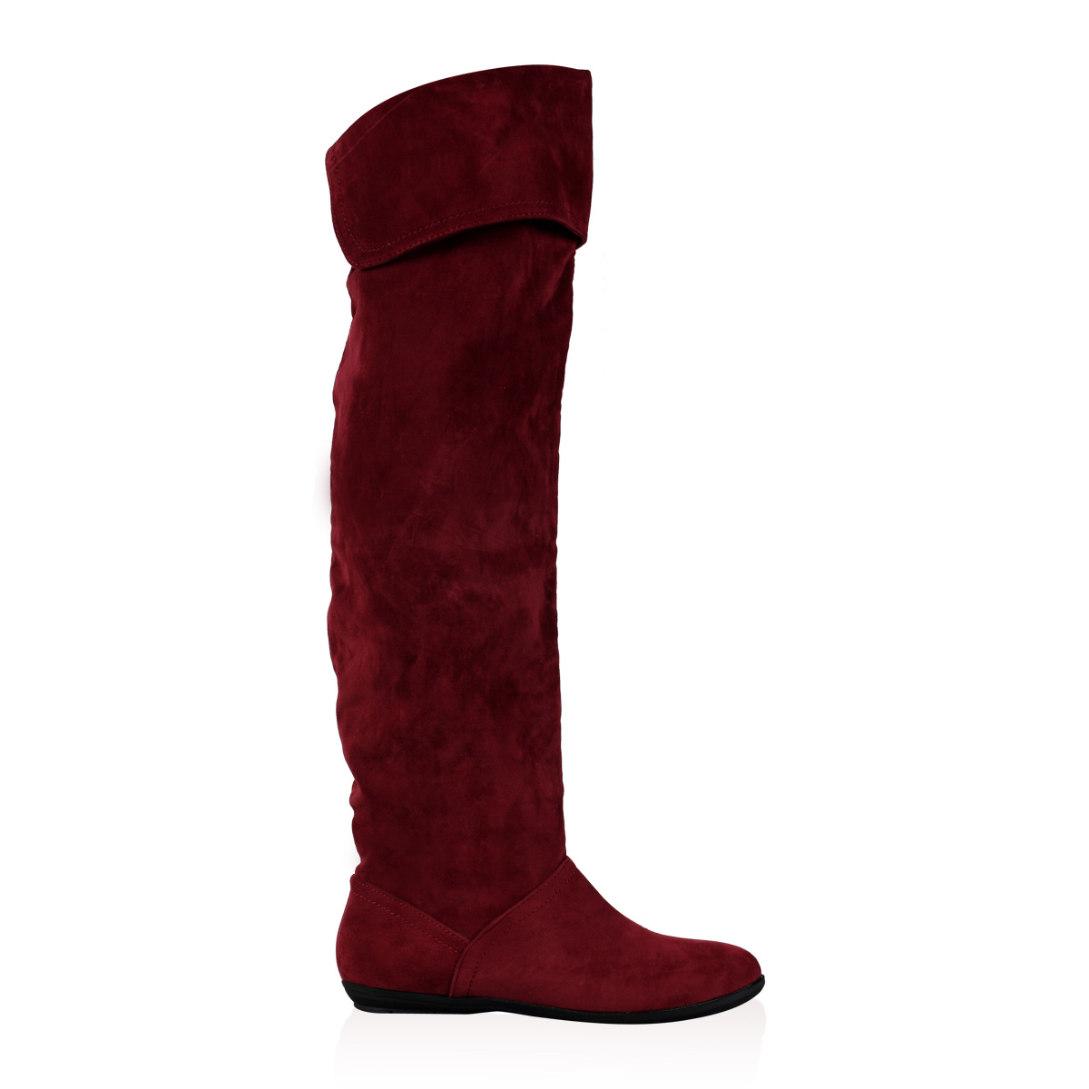 womens new burgundy faux suede slouchy knee