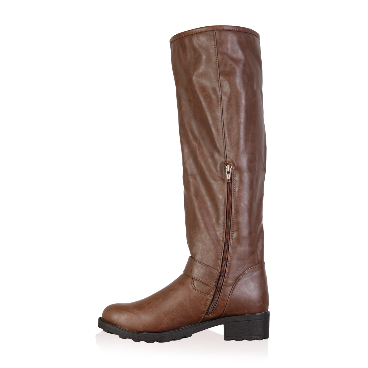 new womens brown faux leather knee high winter