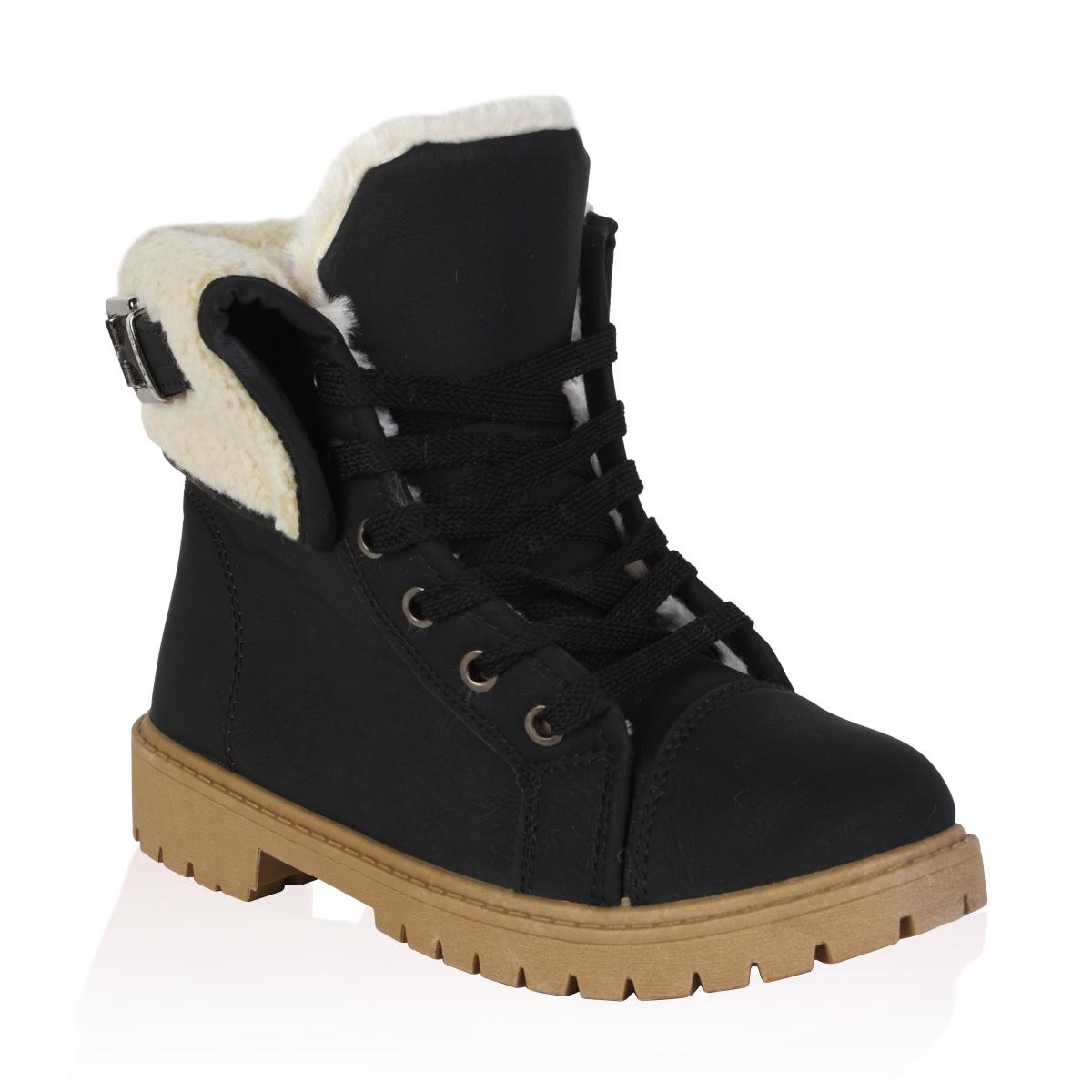 Elegant Black Folded Combat Boots Women  Shoes Mod