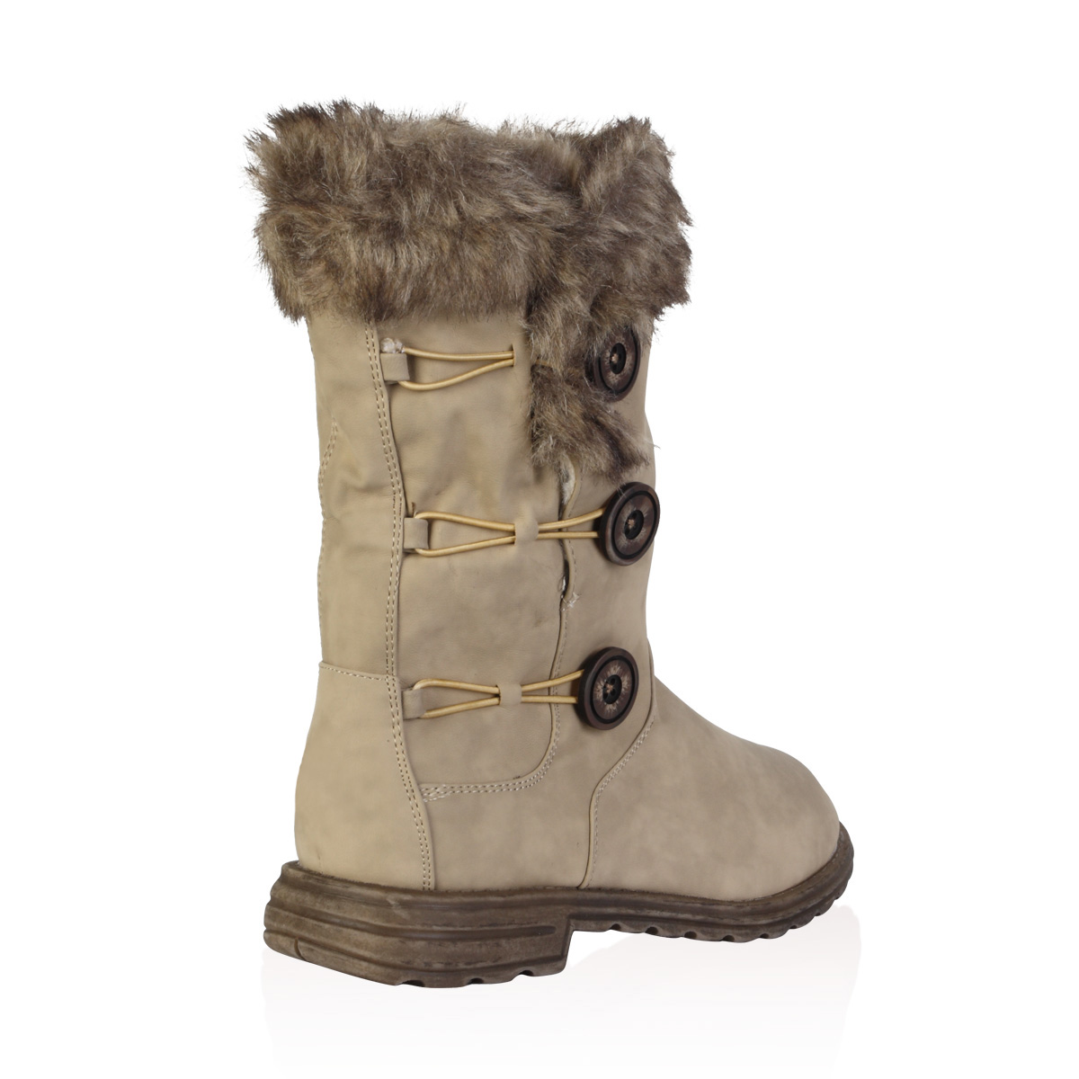 Ladies Soft Faux Fur Lined Womens Button Winter Snow Calf ...