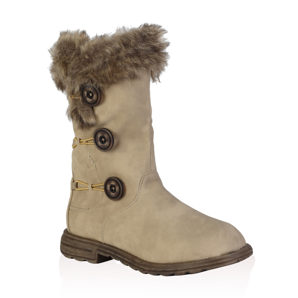 Ladies Soft Faux Fur Lined Womens Button Winter Snow Calf