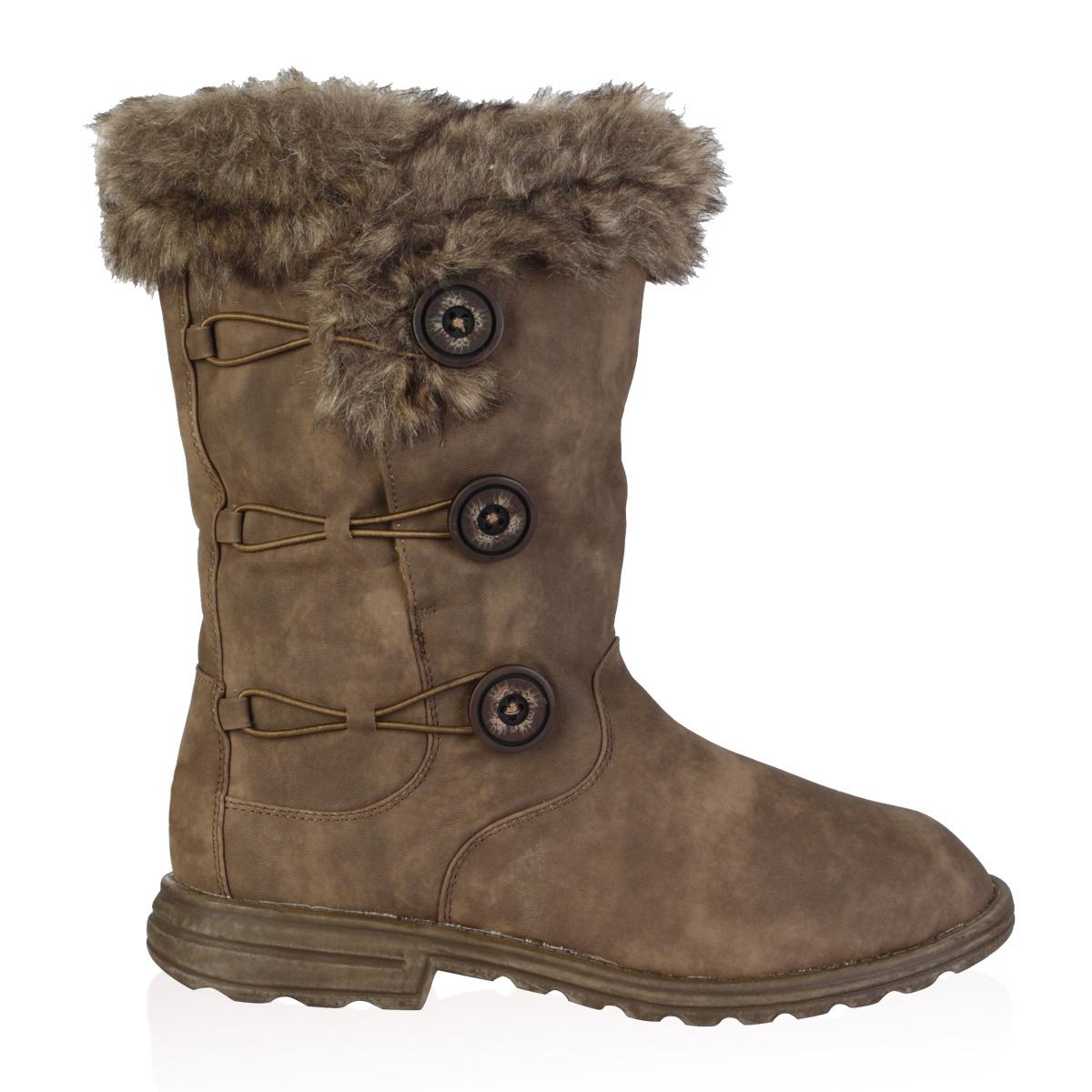 soft faux fur lined womens button winter snow calf