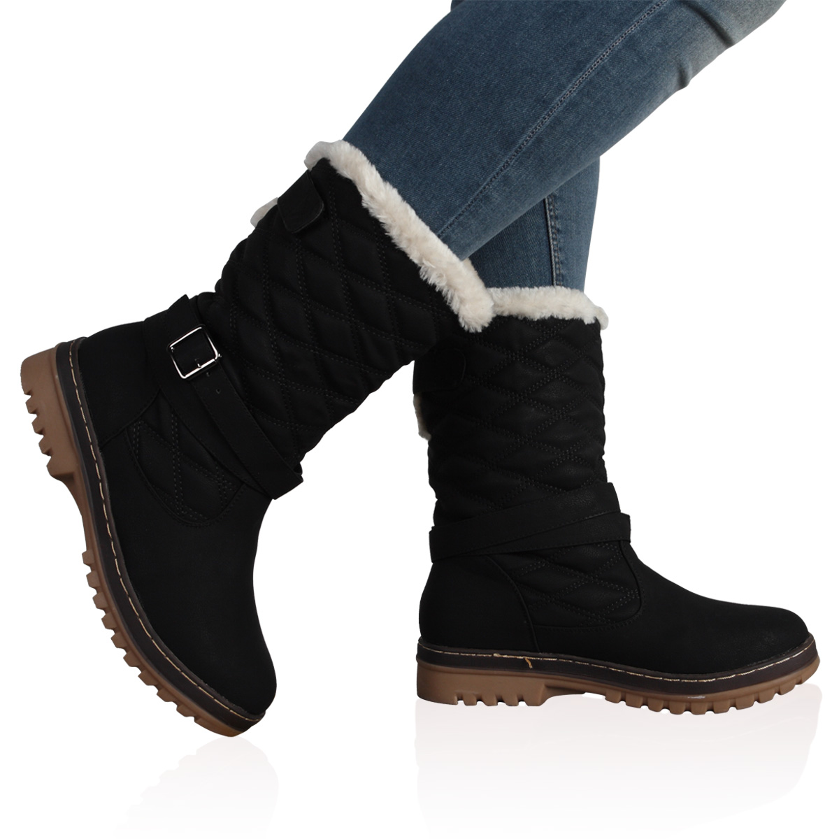DD15 WOMENS QUILTED LADIES FAUX FUR GRIP SOLE WINTER SNOW BOOTS ...