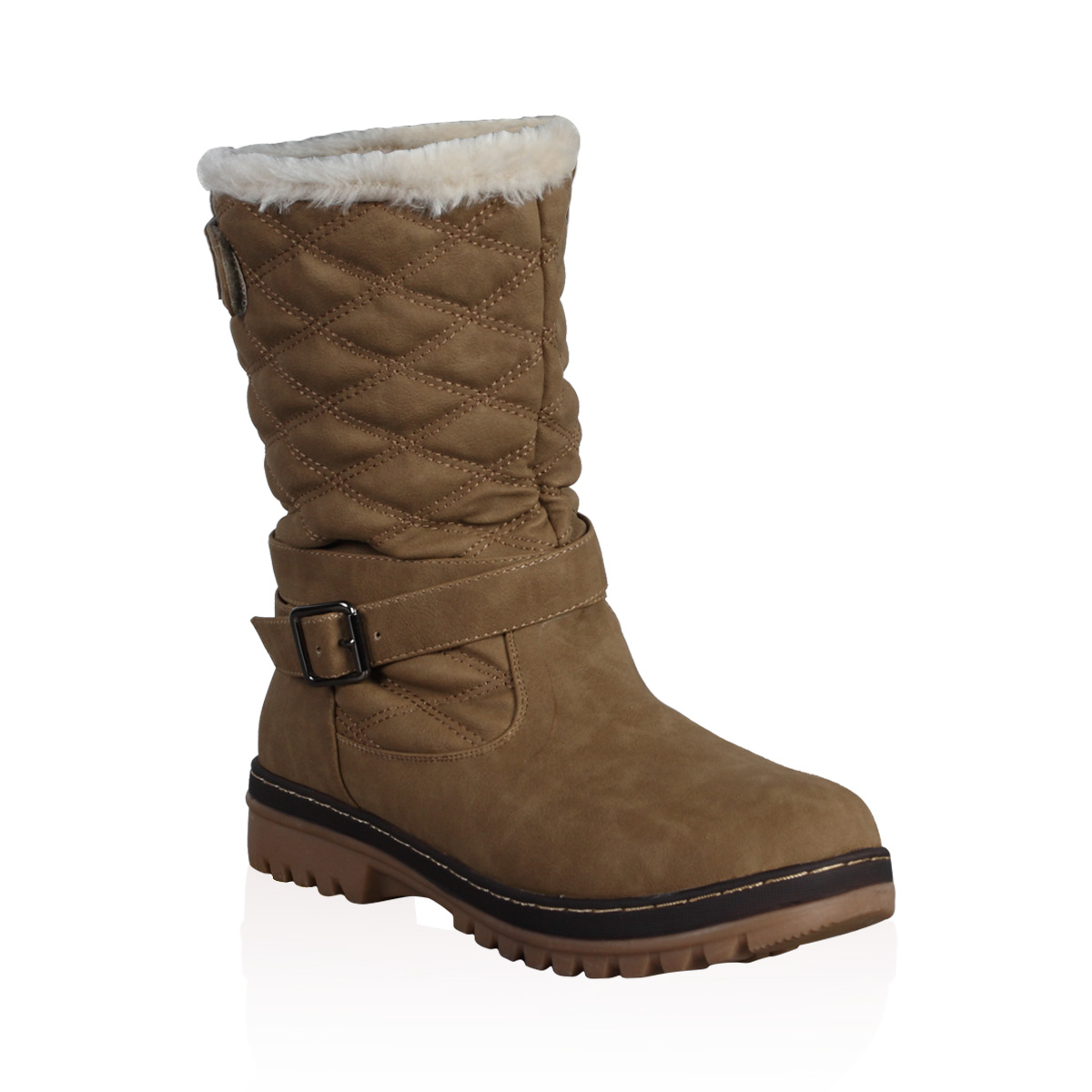 DD15 WOMENS QUILTED LADIES FAUX FUR GRIP SOLE WINTER SNOW