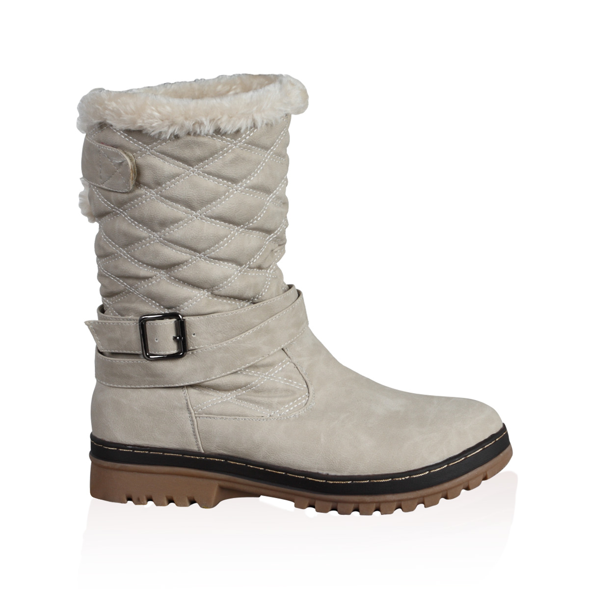 NEW WOMENS GREY QUILTED LADIES FAUX FUR GRIP WINTER SNOW