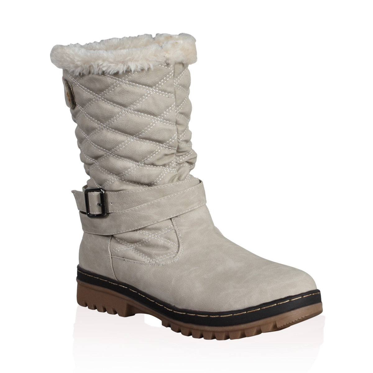 New Ladies Quilted Womens Faux Fur Grip Sole Winter Snow