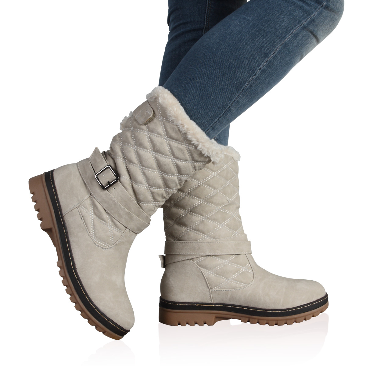 New Ladies Quilted Womens Faux Fur Grip Sole Winter Snow Boots ...