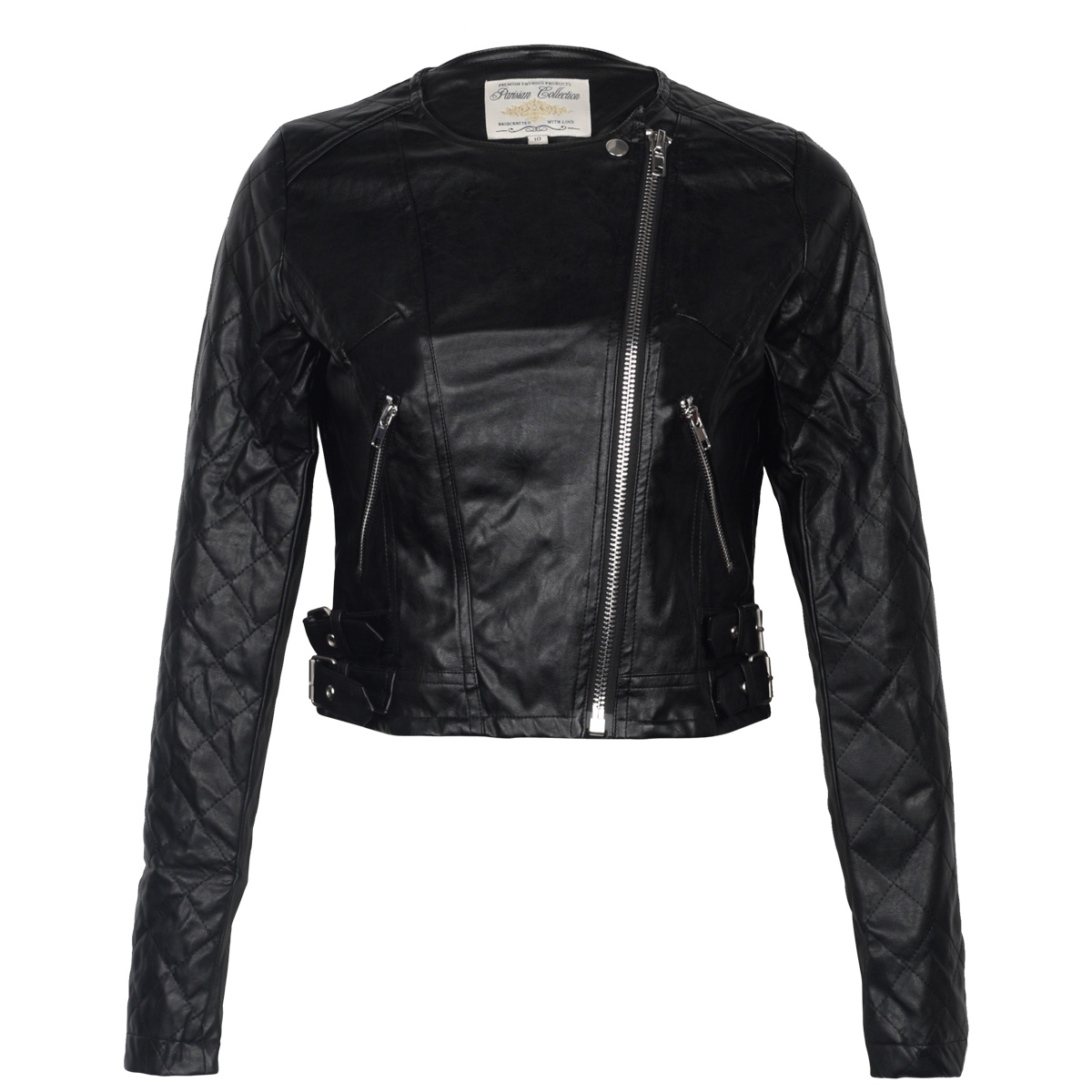 New Ladies Black Faux Leather Womens Quilted Zip Up Biker Jacket Coat Size 8 14 Ebay