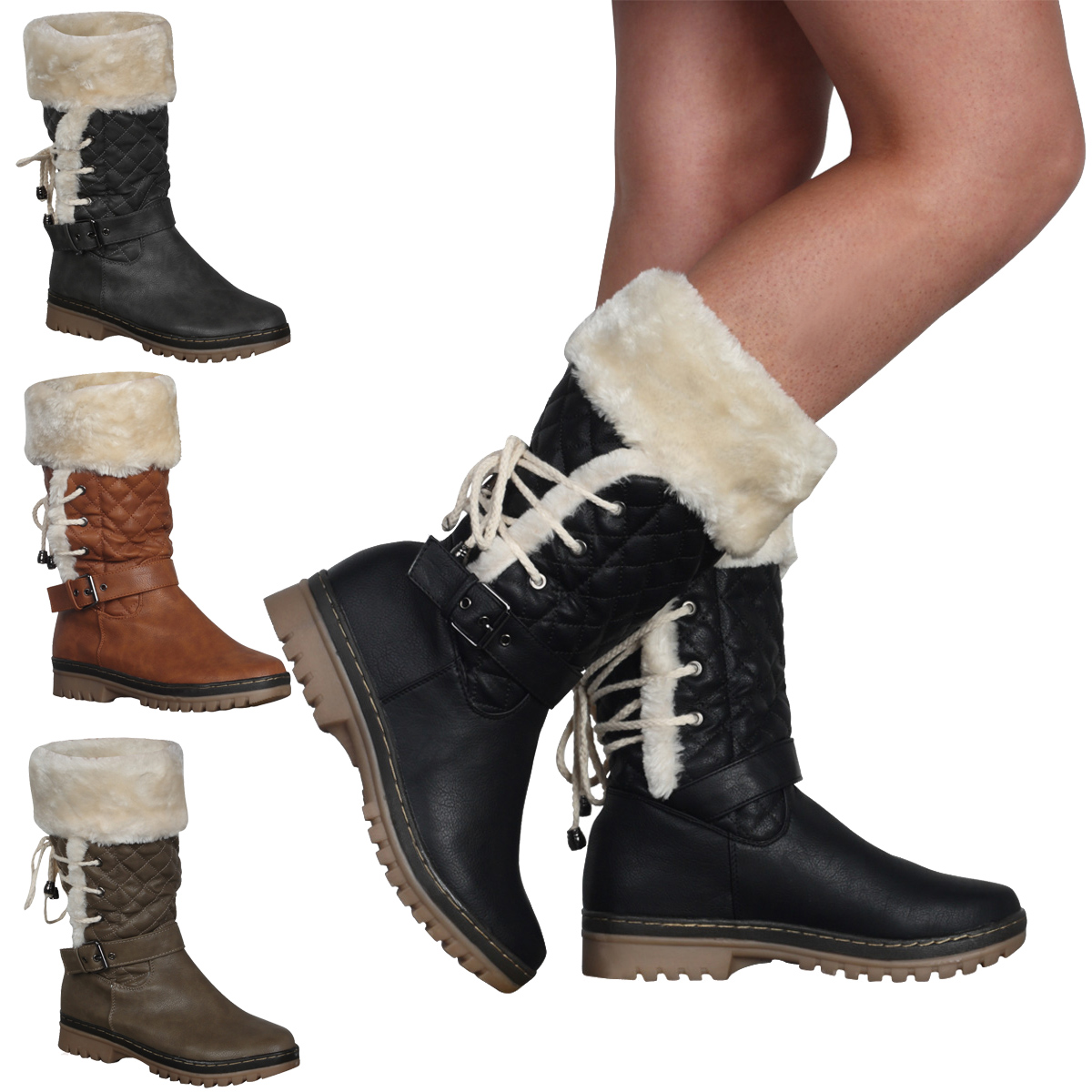 New Ladies Faux Fur Trim Womens Grip Sole Warm Winter Calf