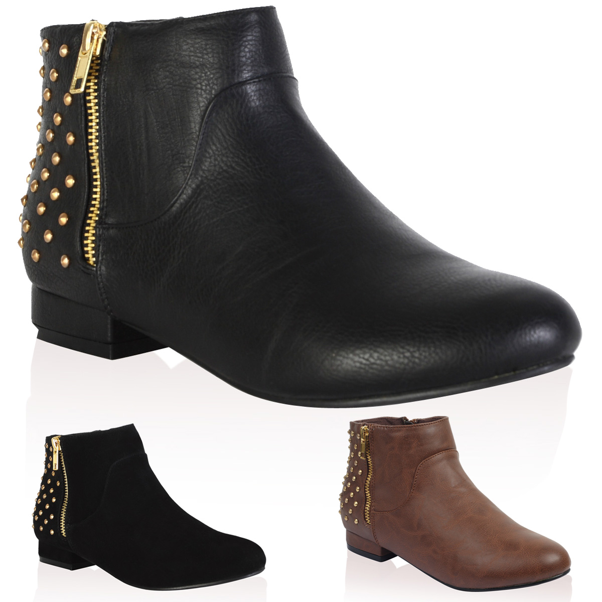 97p bottine femme chelsea cloutee avec fermeture eclair chaussures taille 36 41 ebay. Black Bedroom Furniture Sets. Home Design Ideas