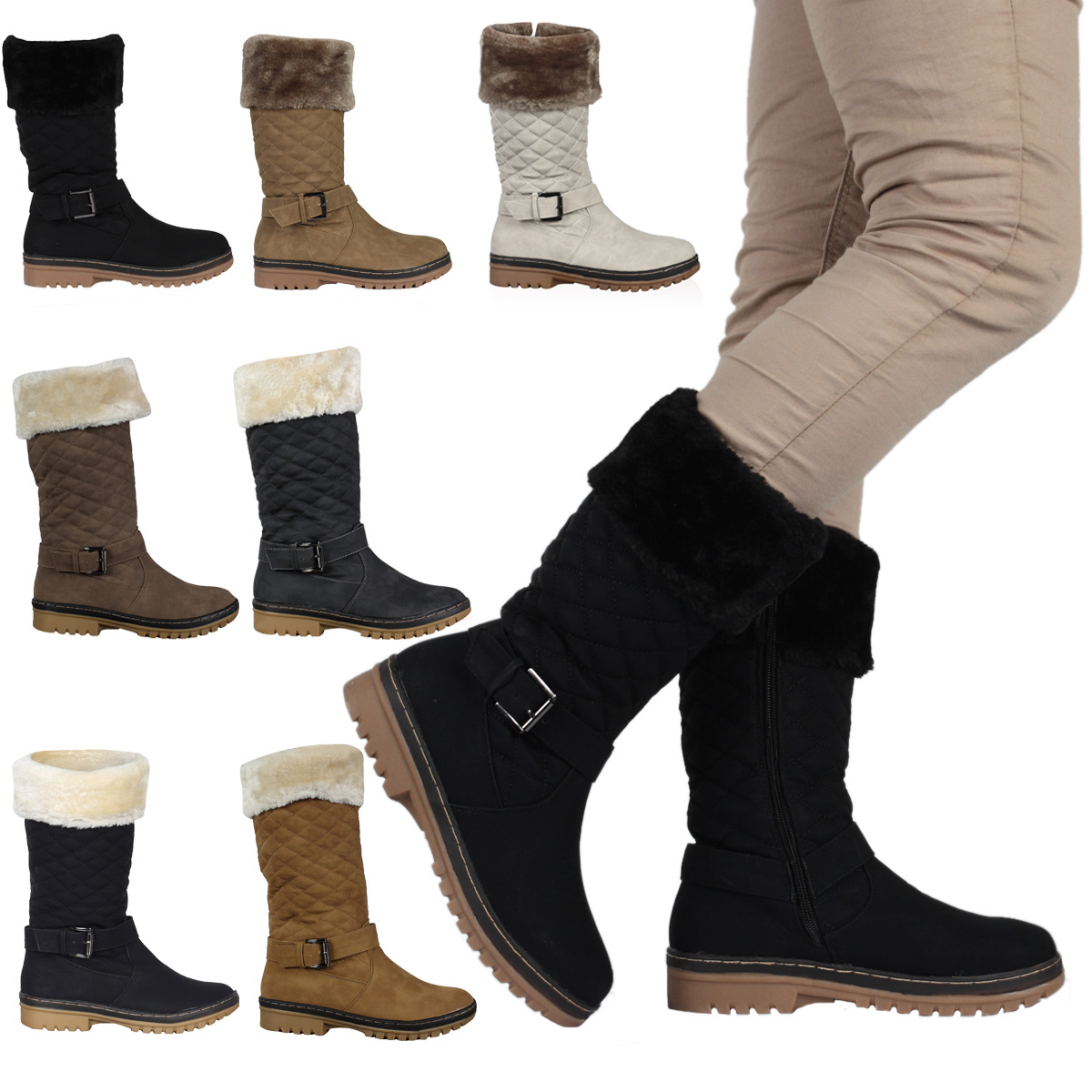 4H WOMENS QUILTED LADIES BUCKLE WINTER WARM GRIP SOLE ZIP BOOTS SHOES SIZE 3-8